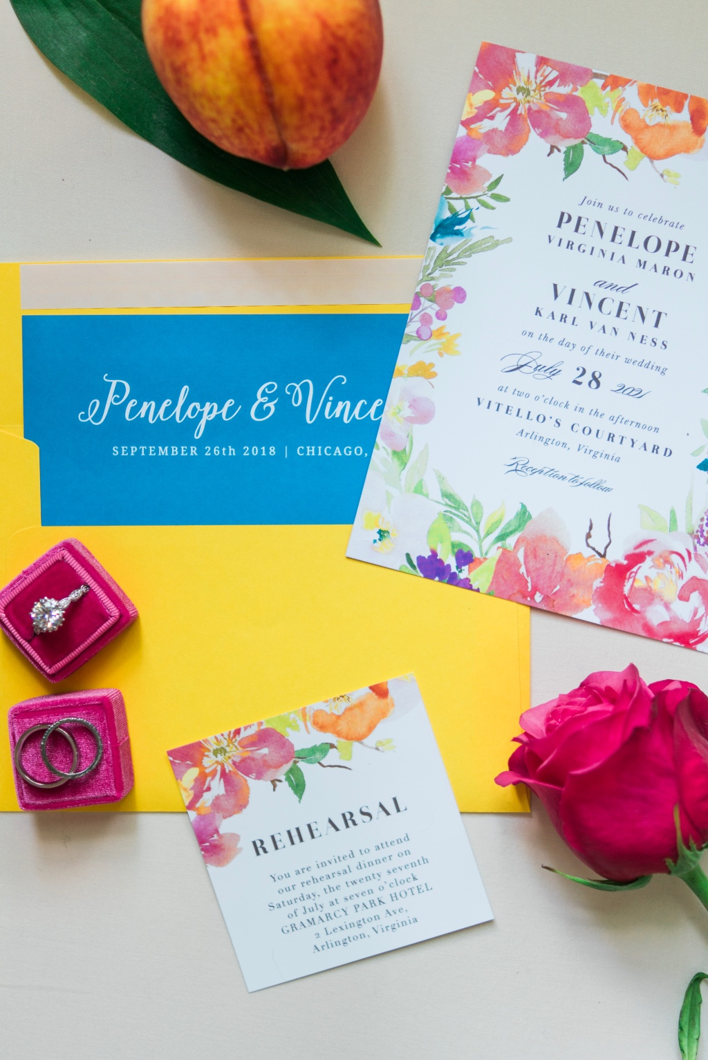 Be bold as a bride with brightly colored floral invitations and an envelope to match.