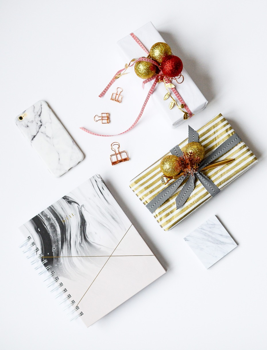 Stylish holiday gifts wrapped
