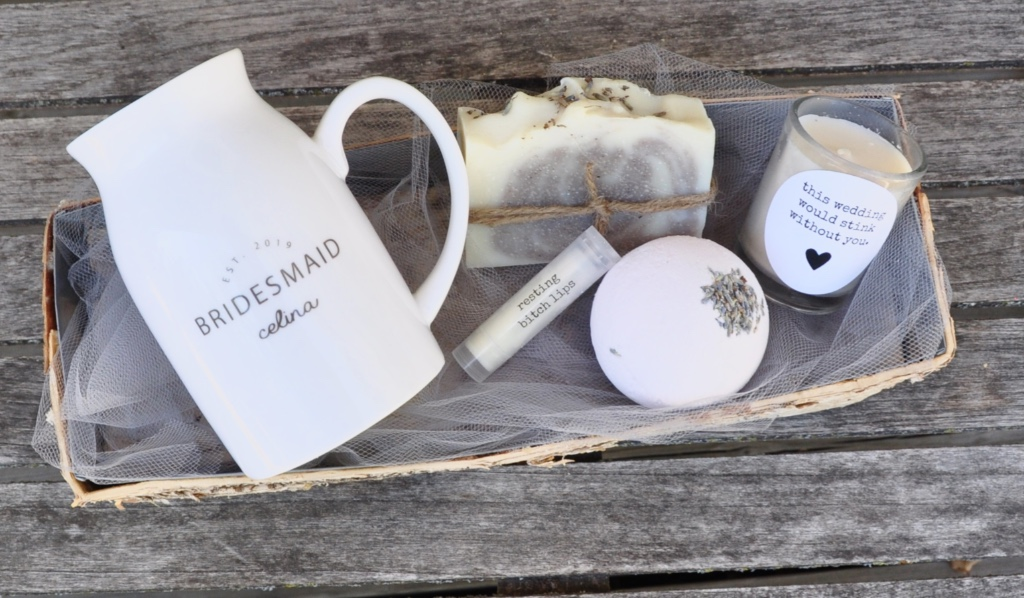 This bridesmaid mug gift box comes with handmade artisan spa lovelies in a rustic birch box....the ultimate luxury gift box for your