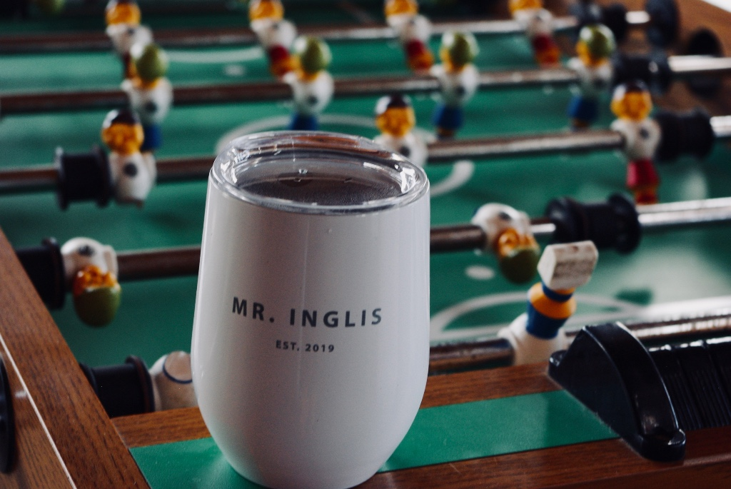 The perfect customized wine tumbler for your mr ....will keep his drink cold for hours during his game of foosball or otherwise!