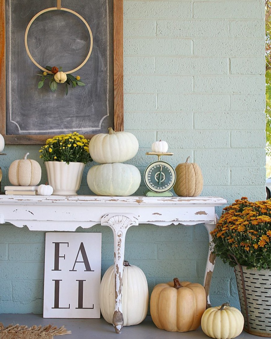 Autumn porch with vintage details and hoop wreath