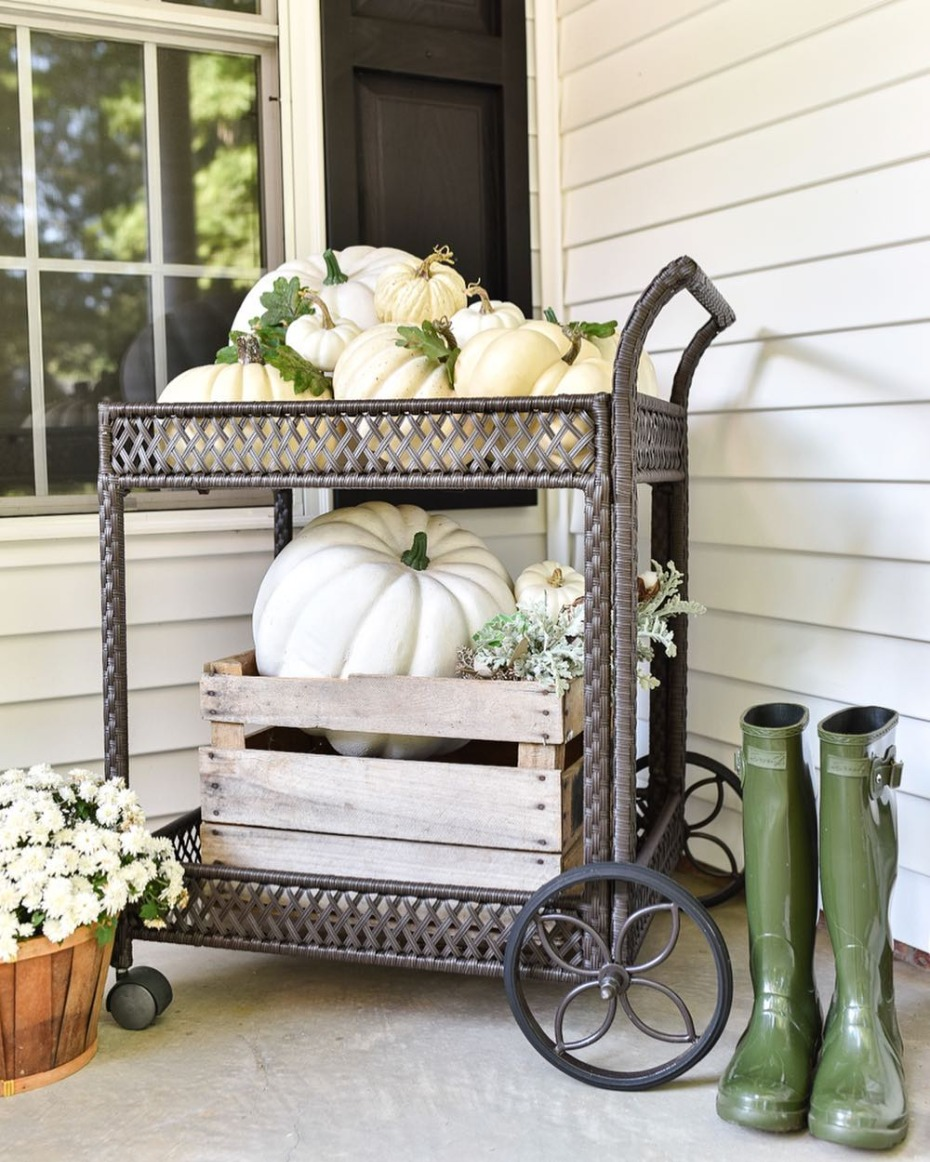 Autumn Porch Pumpkin Bar Cart