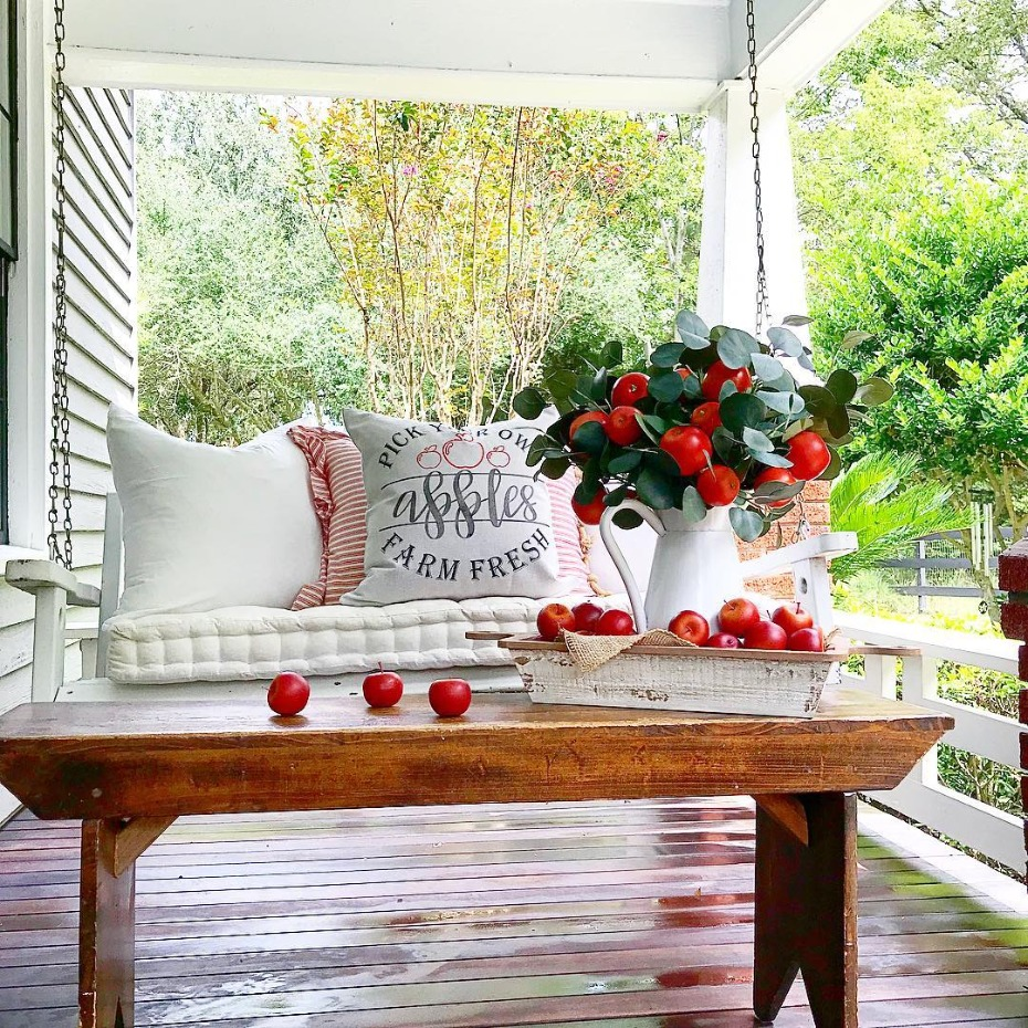 Autumn porch with apples