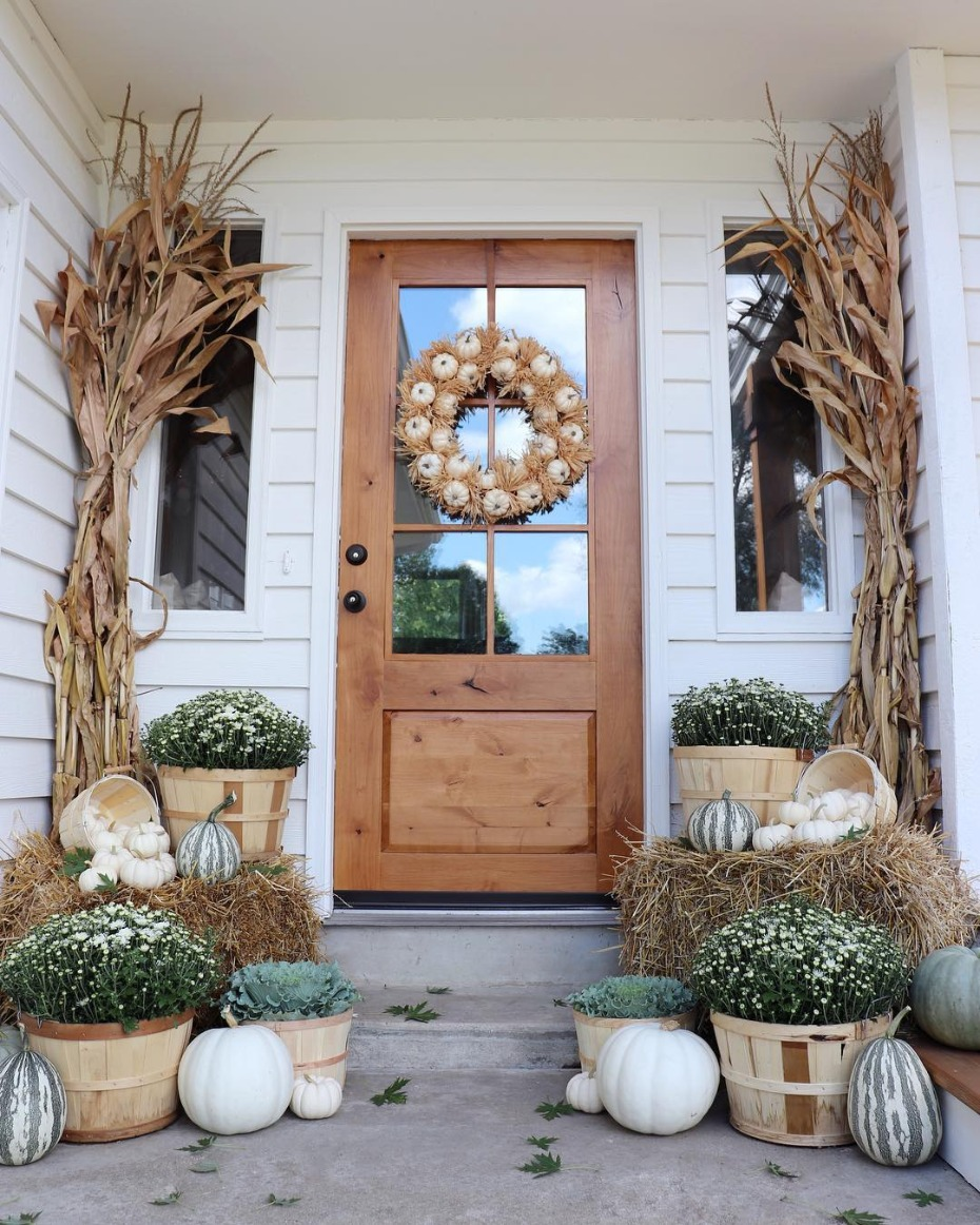 Autumn porch with white pumpkin wreath