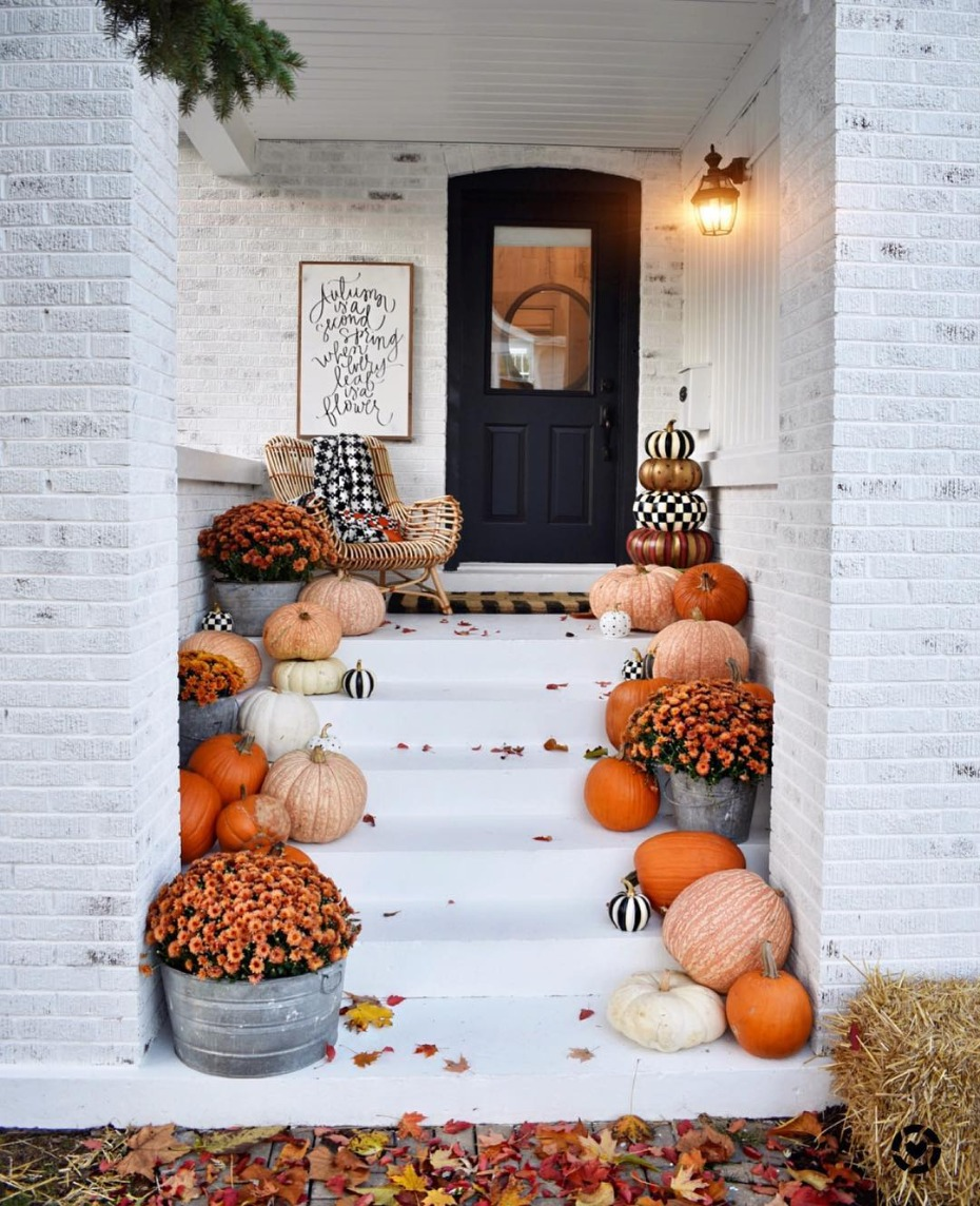 Autumn Porch with Orange Black and White Pumpkins