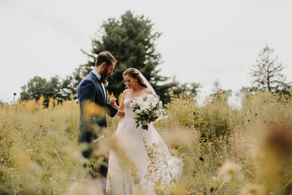 Real Astrid & Mercedes Bride Ainsley + Elan's Midsummer Night's Dream Wedding in Upstate NY | Dress: Astrid & Mercedes Provence