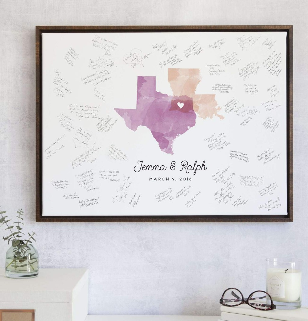Our Wedding Guest Book Alternative with Watercolor Map features the states that mean the most to you!! Tell us a city from each state