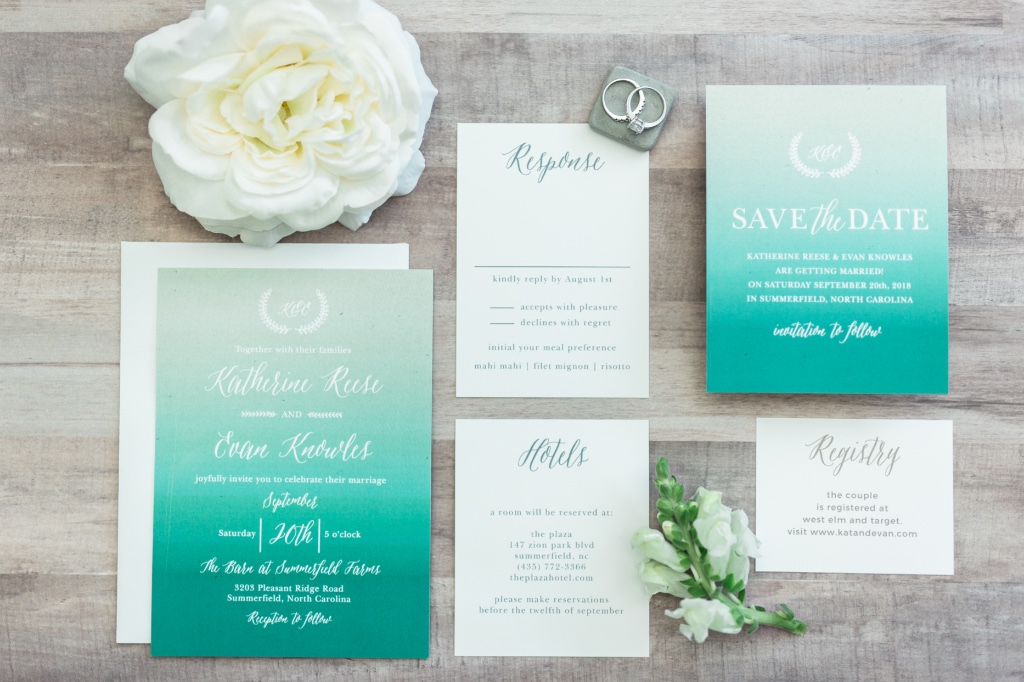 Summer has slipped away, but bright Rustic Ombre Wedding Invitations are here to stay! Customize this suite in over 180 colors.