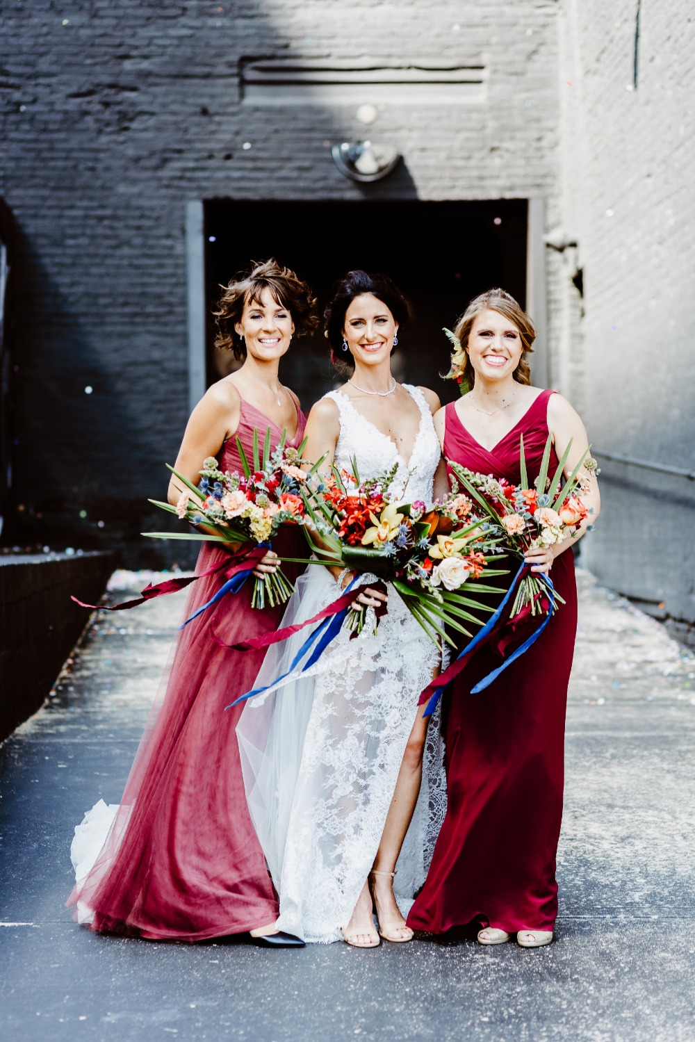 bridesmaids in burgandy