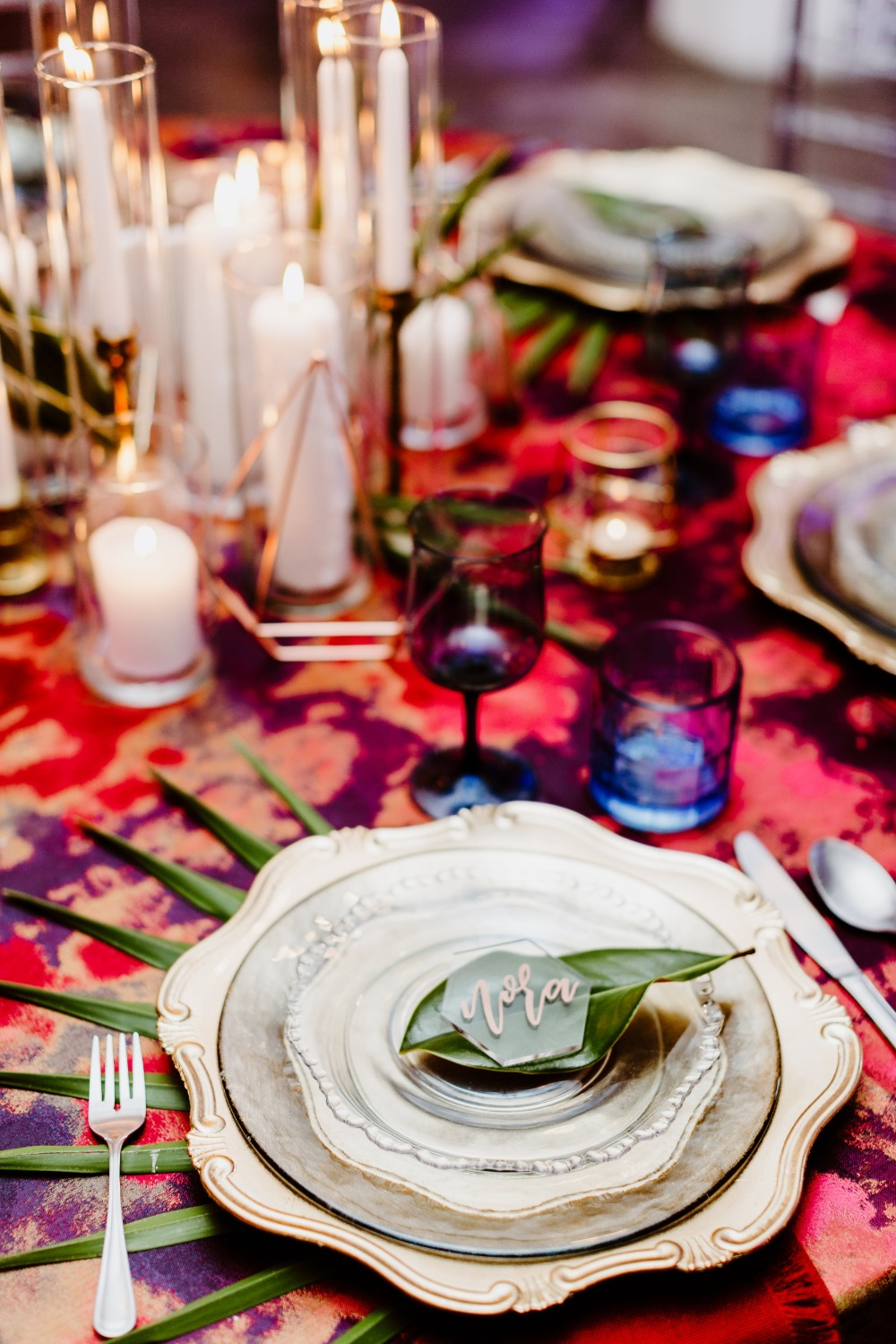 gold and organic wedding place setting