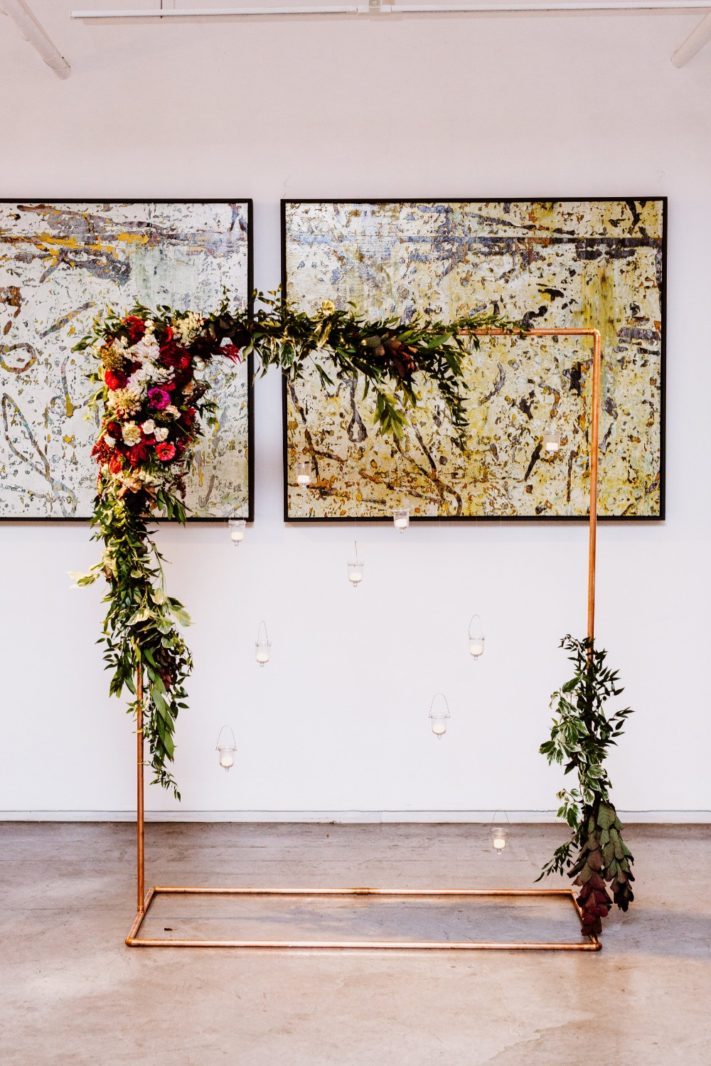 floral accented wedding backdrop