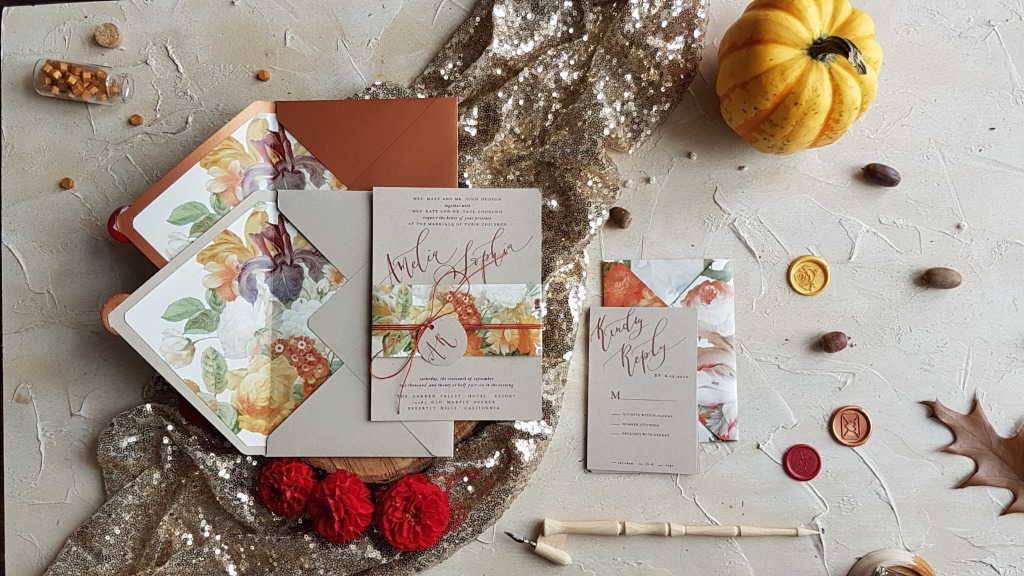 Wedding invitations with still life painting