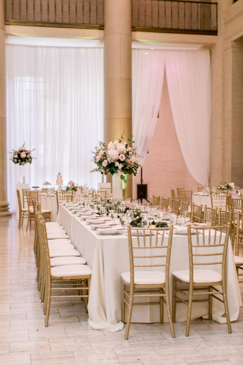 Reception with gold chairs