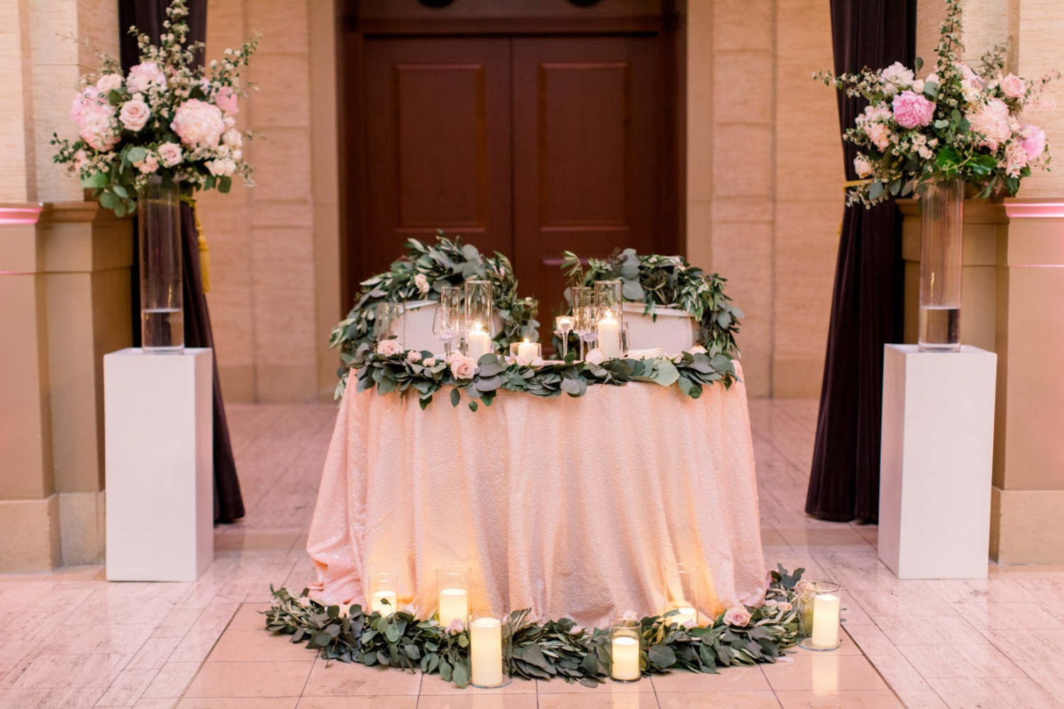 Sweetheart table with candles