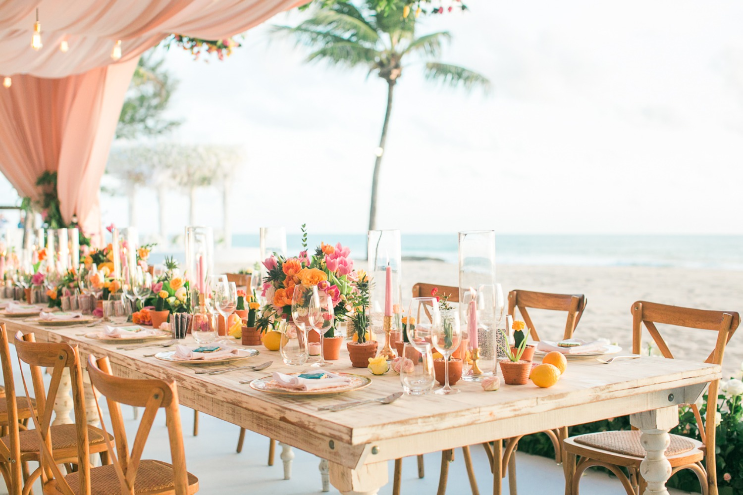 Colorful rustic beach reception