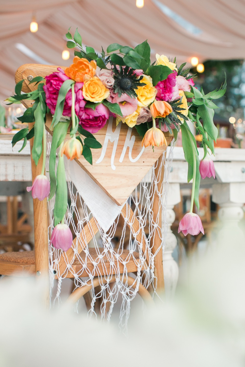 Wood chair sign wedding