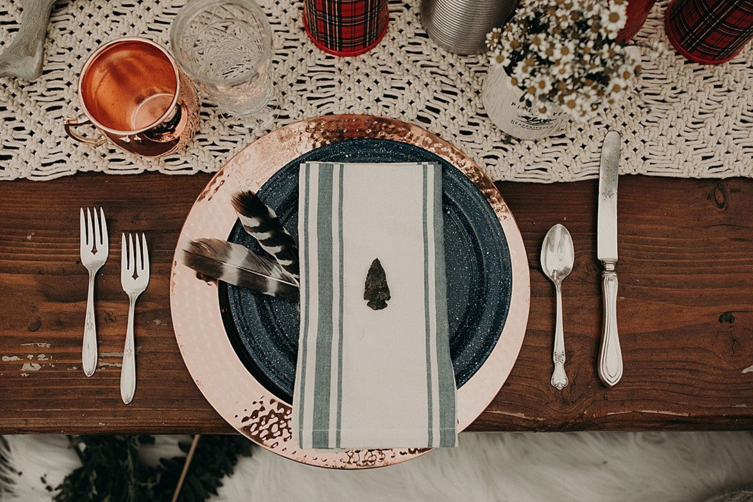 wild forest wedding placesetting
