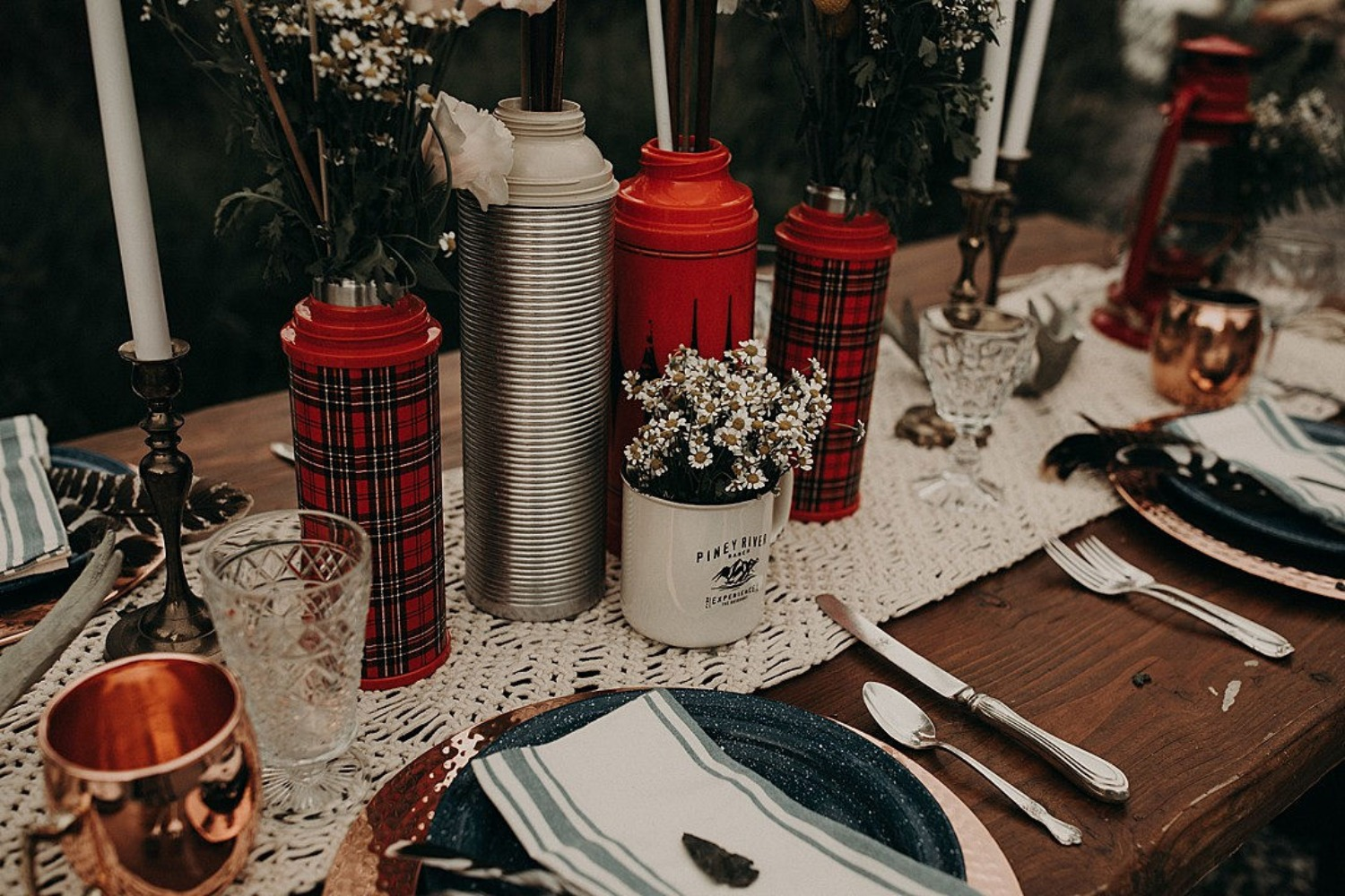 classic camping wedding table decor