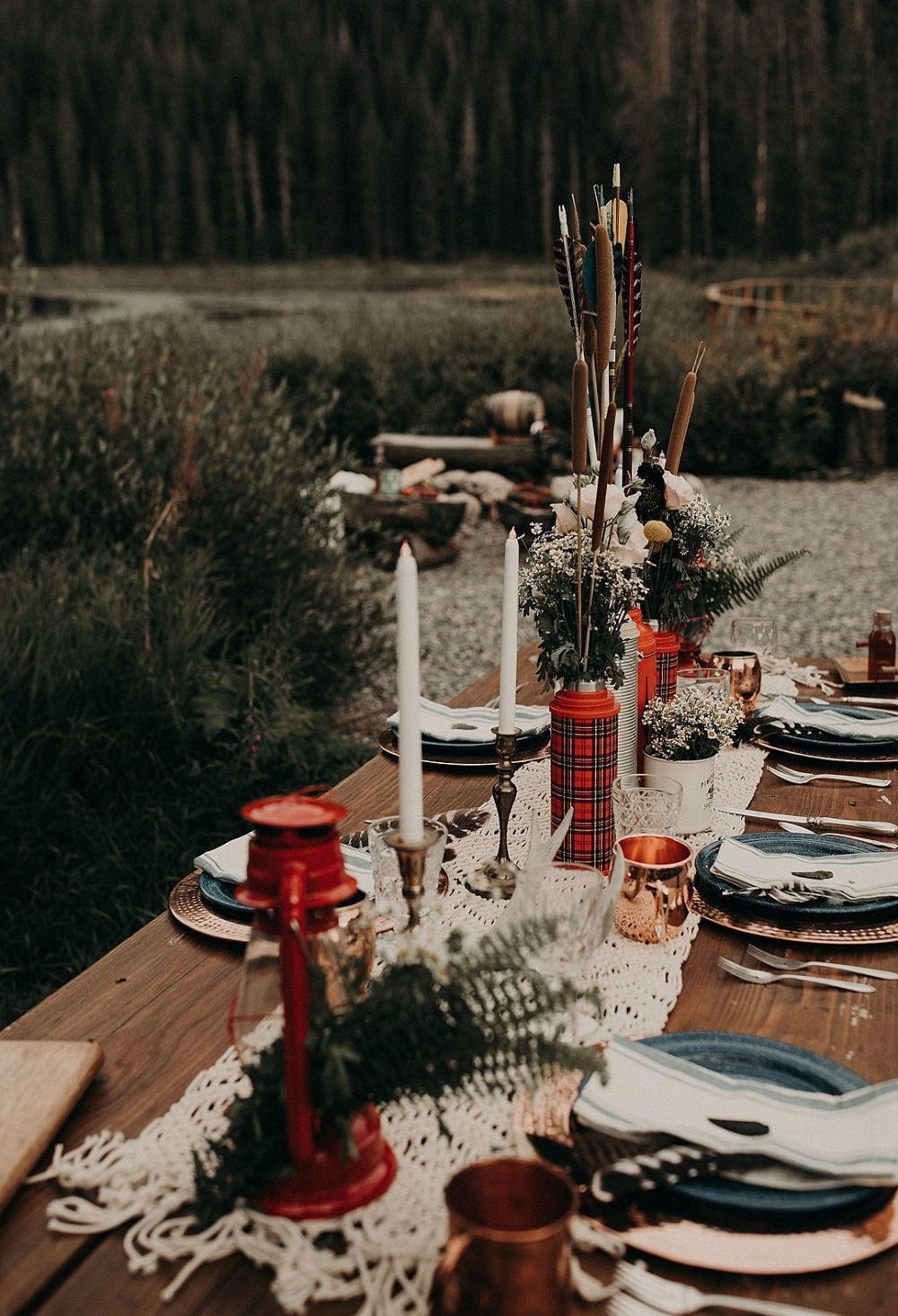 rustic camp Wes Anderson themed wedding
