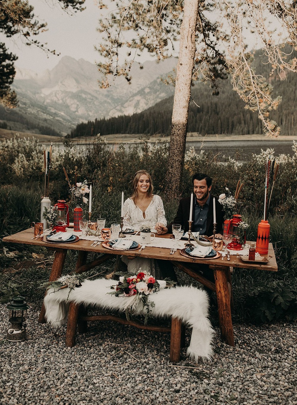 rustic and vintage camping wedding reception