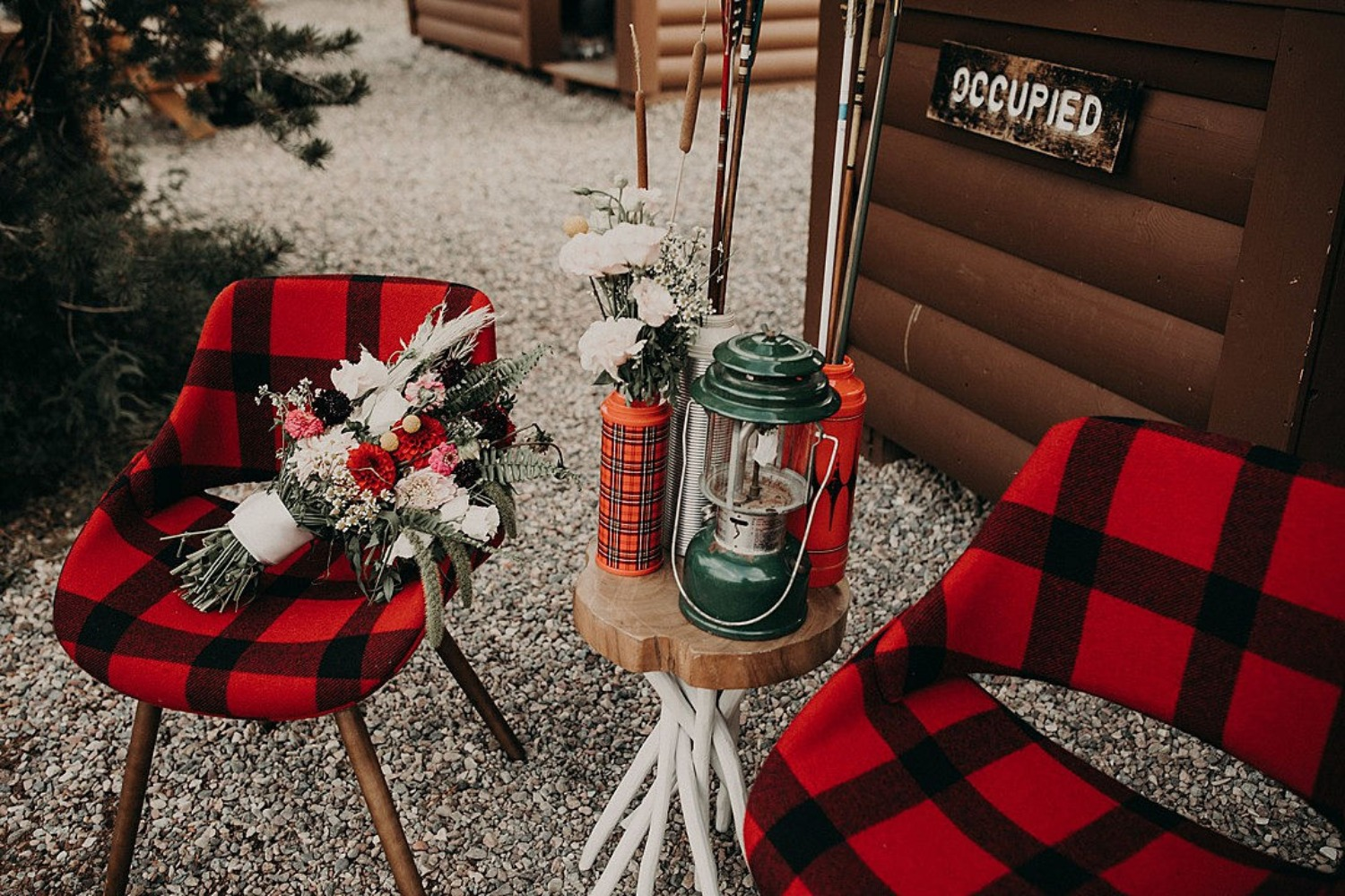 rustic chic camping themed lounge
