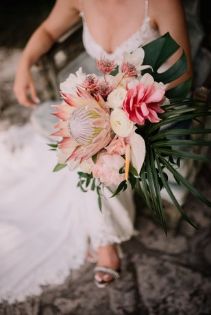 wedding bouquet with tropical florals