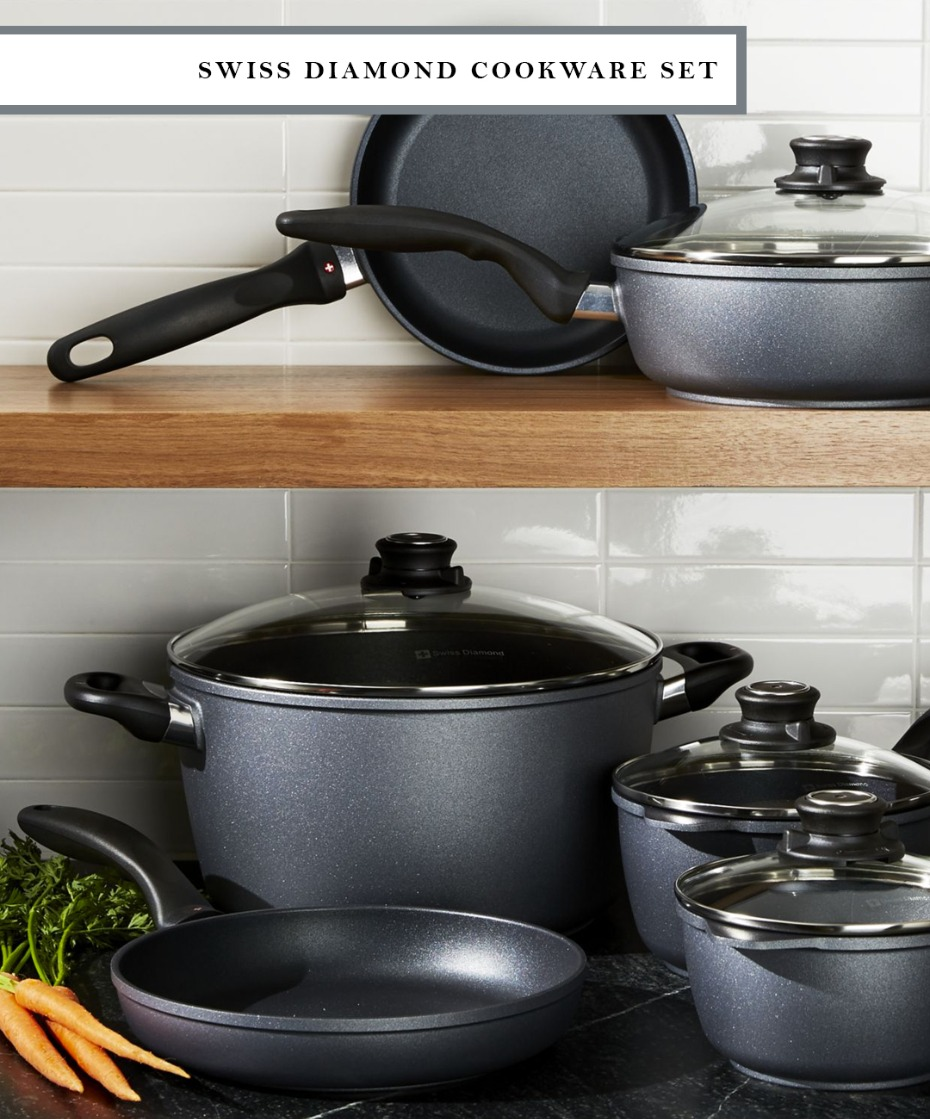 Swiss Diamond black cookware set where no oil is required for cooking