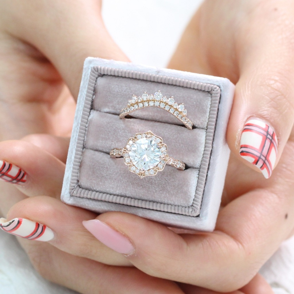 Vintage floral moissanite diamond ring wedding set in rose gold by La More Design Jewelry