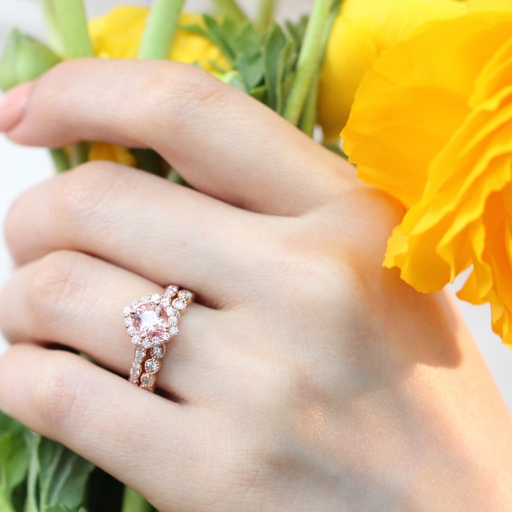 Gracefully handcrafted peach sapphire diamond wedding set in rose gold low profile ring setting by La More Design Jewelry