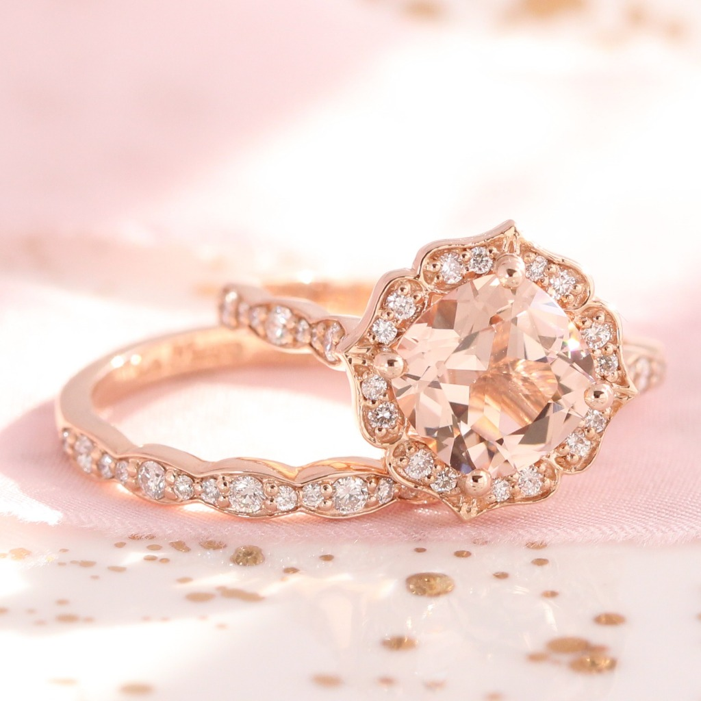 Unique and elegant peach morganite engagement ring with a scalloped matching diamond wedding band in rose gold by La More Design Jewelry