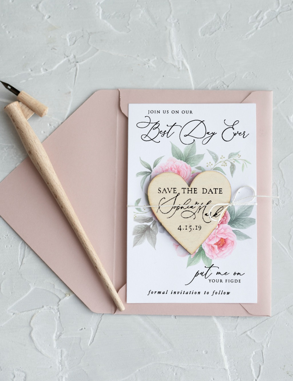Save the date - pastel flowers