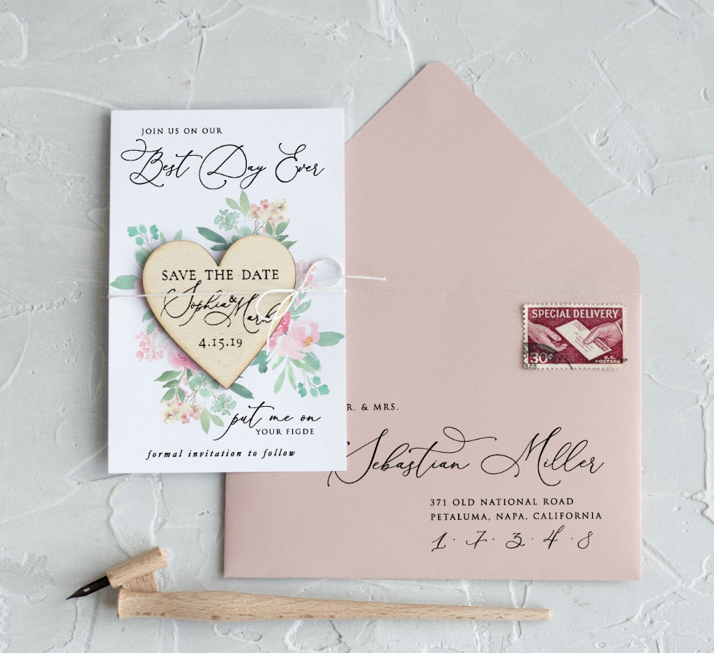 Save the date with magnet and pastel flowers