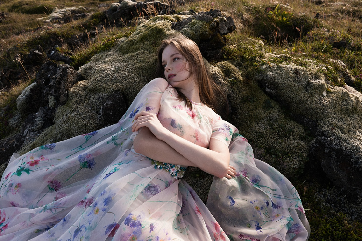 watercolor floral dress from Dalaarna