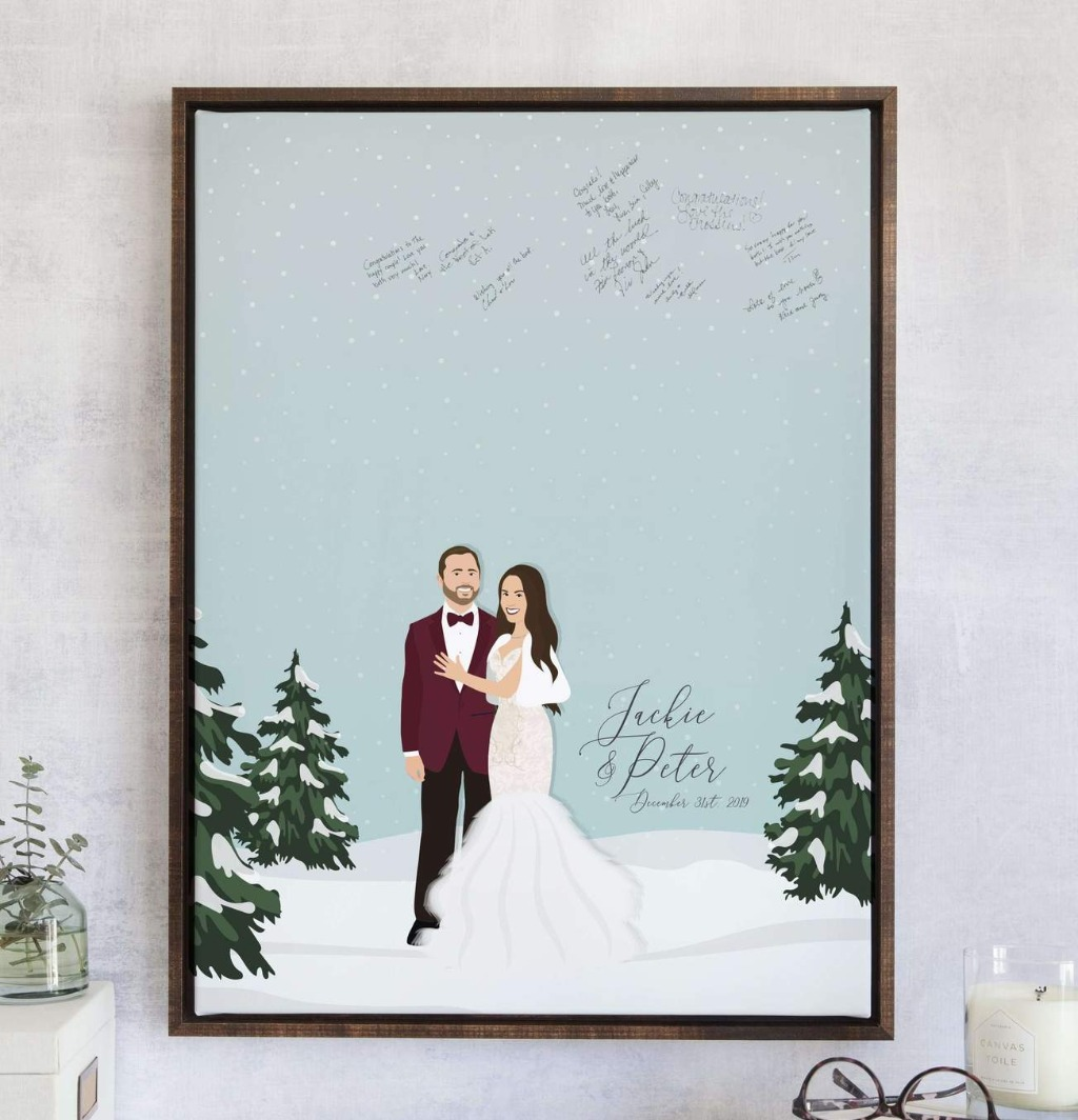 This Winter Wedding Guest Book Alternative with Snowy Portrait from Miss Design Berry is perfect if your big day is winter wonderland