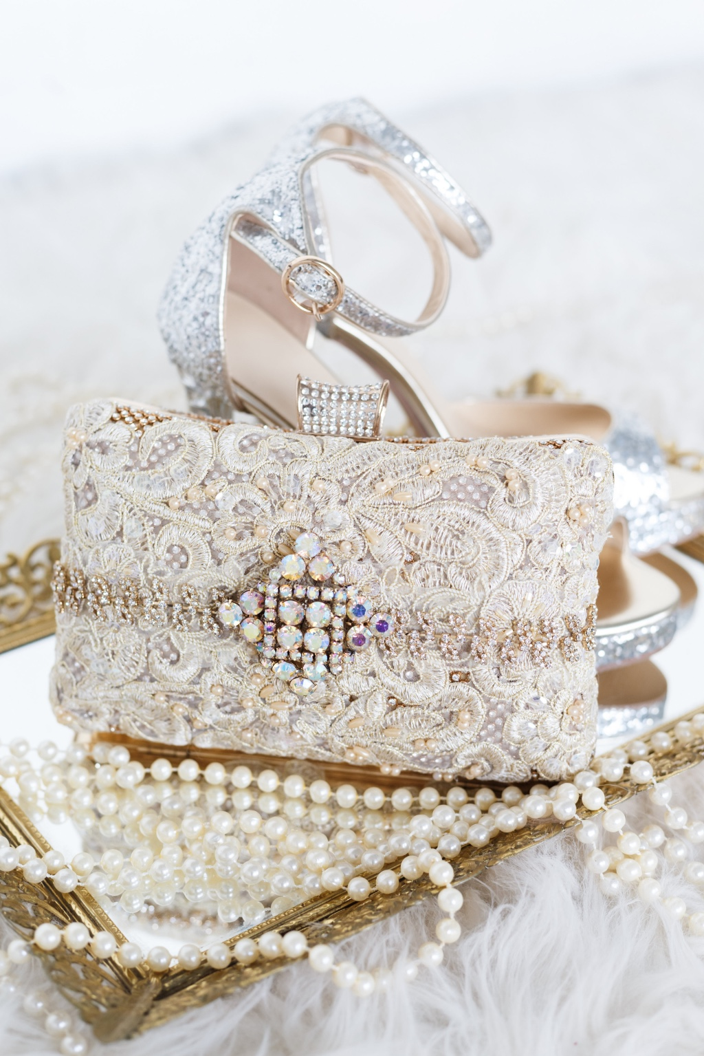 Pretty gold details in this one of a kind bridal clutch.
