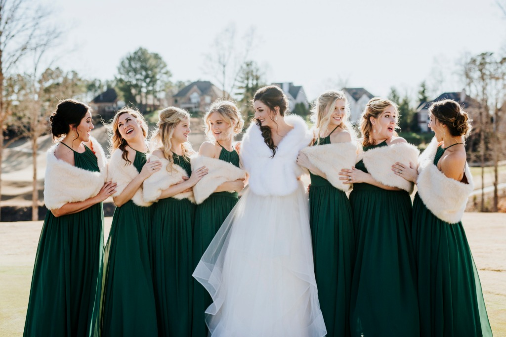 Dark Green Bridal Party ✨😍 Find your perfect bridesmaid dresses at Azazie | Photo by Kevyn Dixon Photography