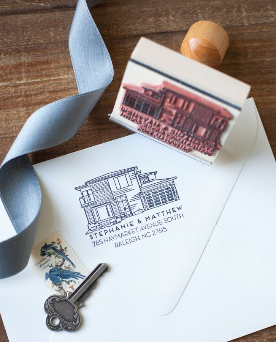 Personalized home portrait address stamp