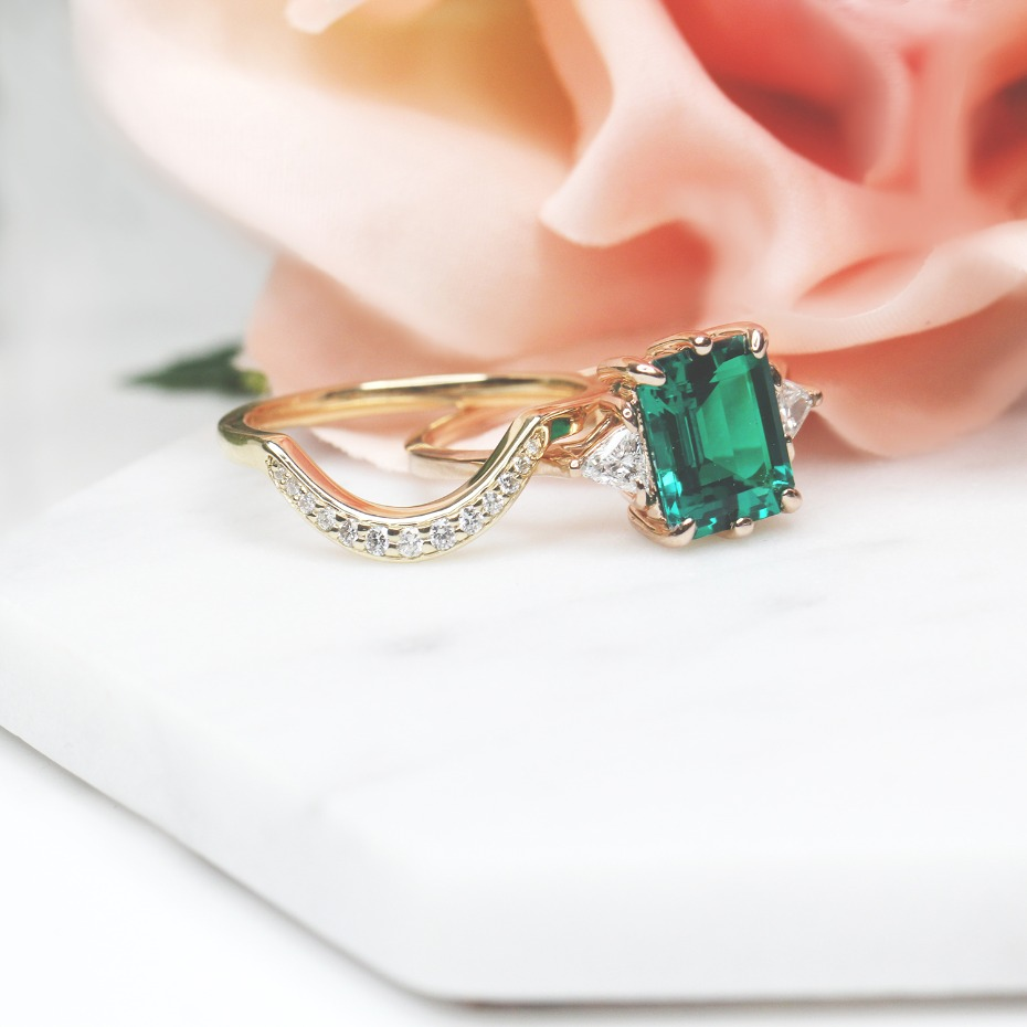 MiaDonna Custom Emerald Wedding Set