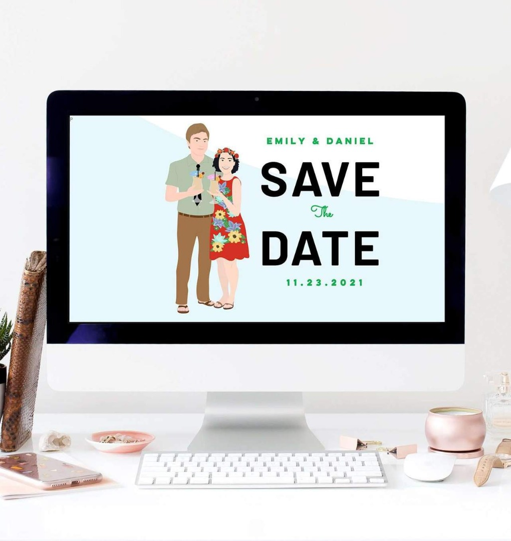 Take your wedding website to a new level with your Custom Portrait Art for Wedding Website!! It's such a cute way to add a bit of personality