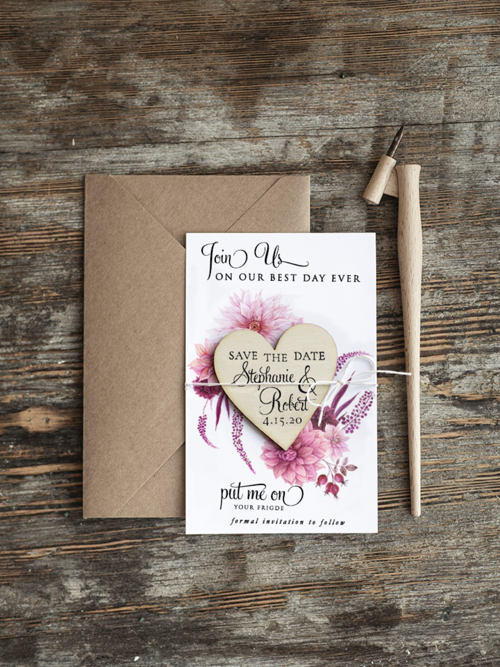 Save the date with dahlia flower