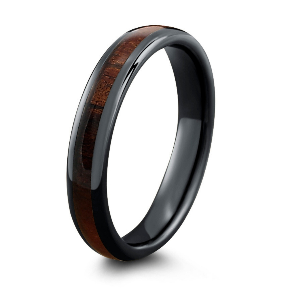 Black ceramic wood wedding ring. This makes the perfect wedding ring for those who love nature.