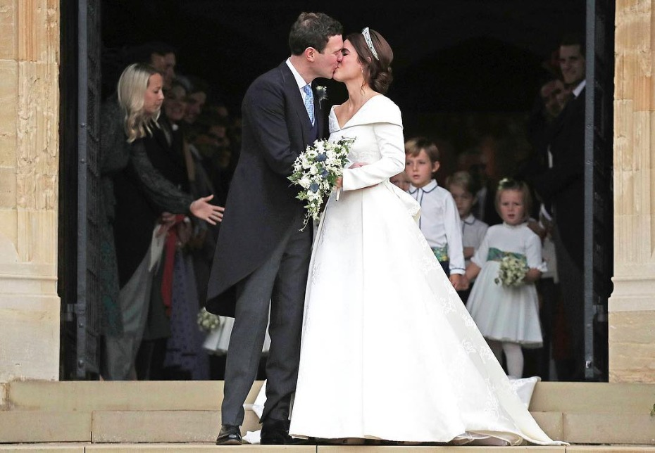 Princess Eugenie and Jack Brooksbank Kissing After Ceremony