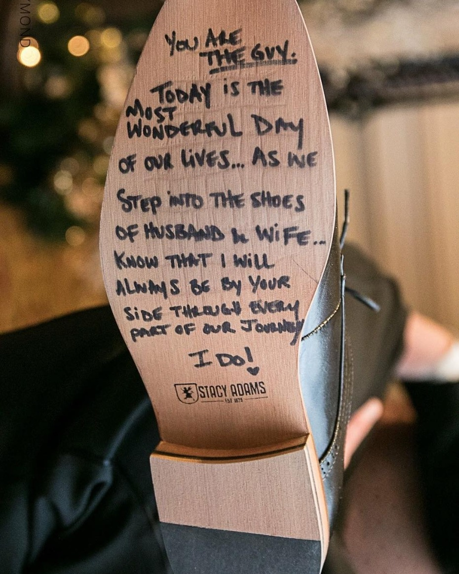 Message from bride to groom on bottom of shoe