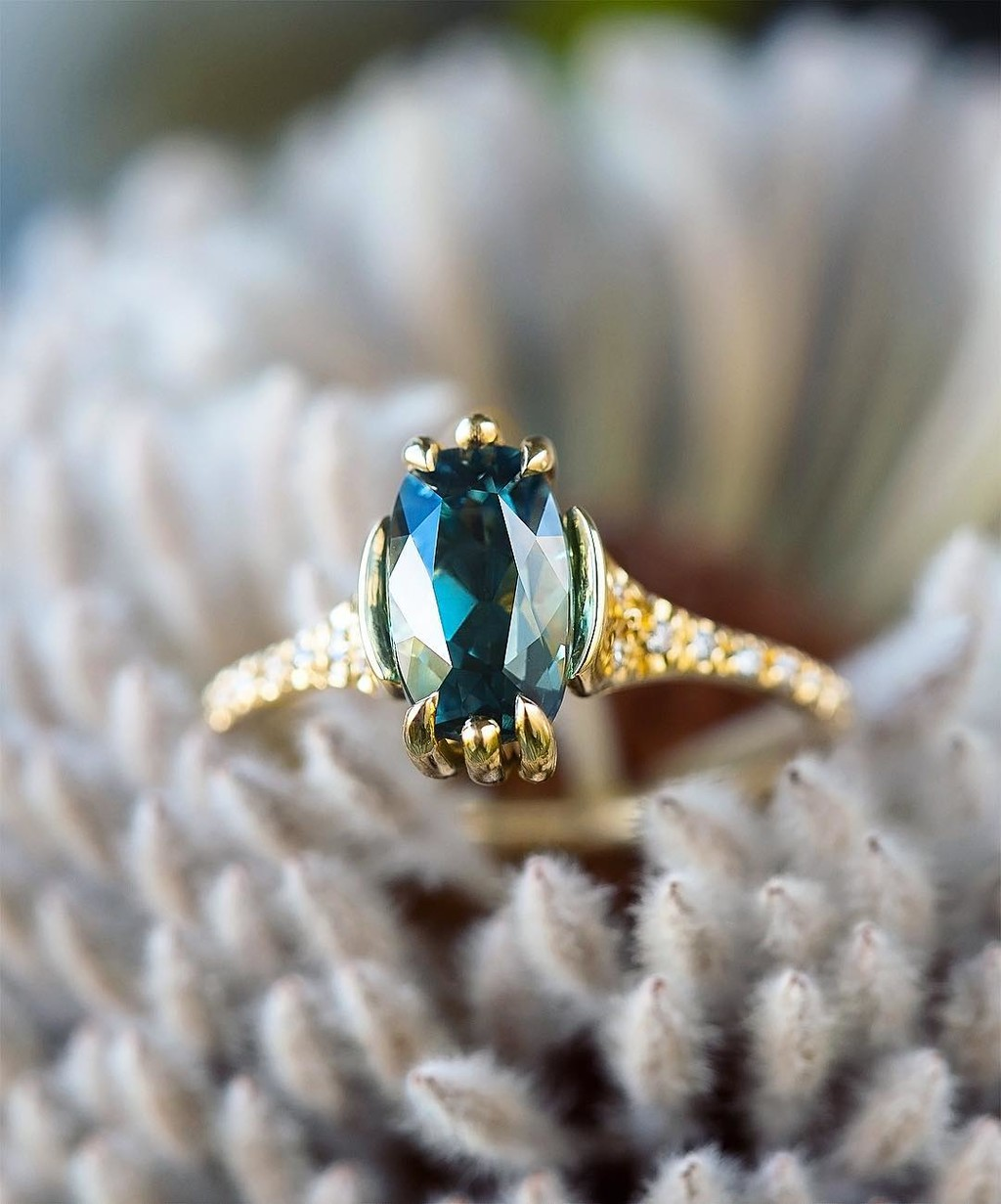 💚💙💚 Simply love at first sight with this elongated Teal colored, no heat, GIA Certified, Montana Sapphire. I loved her so