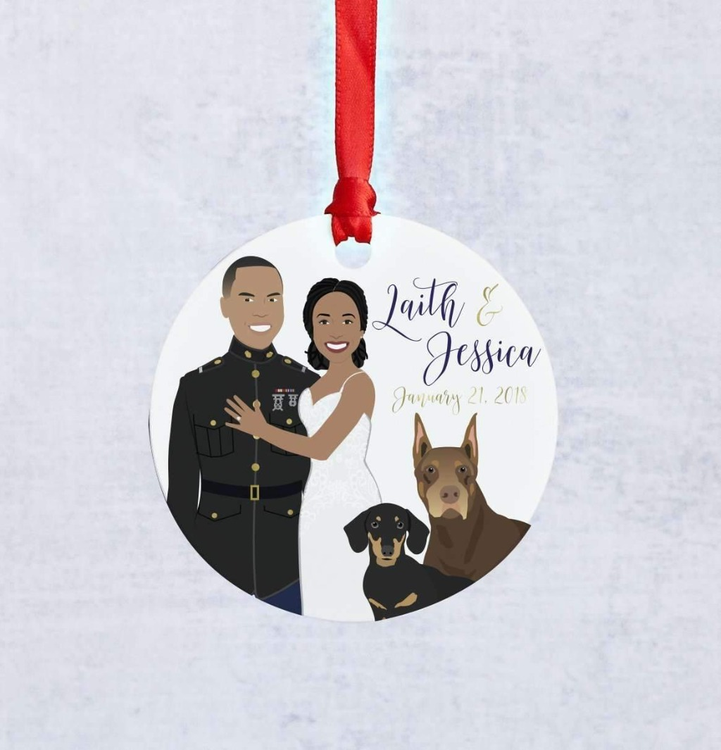If your big day is this year, you'll need to pick up this amazing Newlywed Couple Portrait Ornament for the holiday season!!