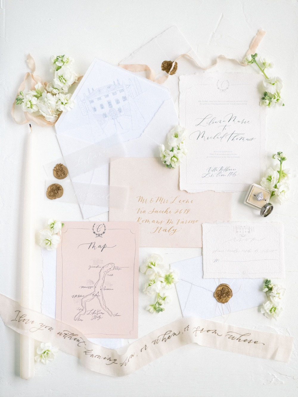 blush and ivory wedding invitation suite