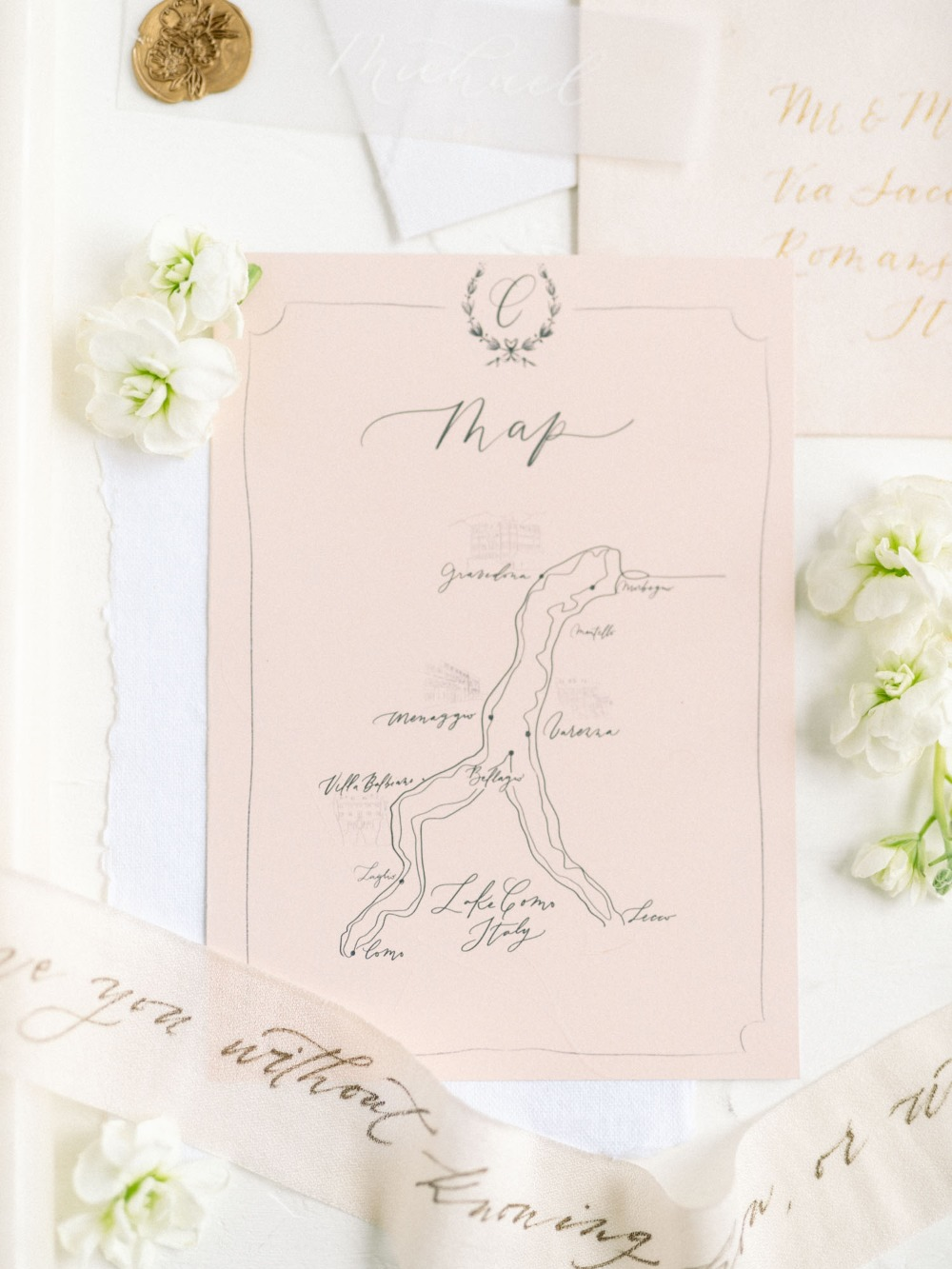 blush wedding map