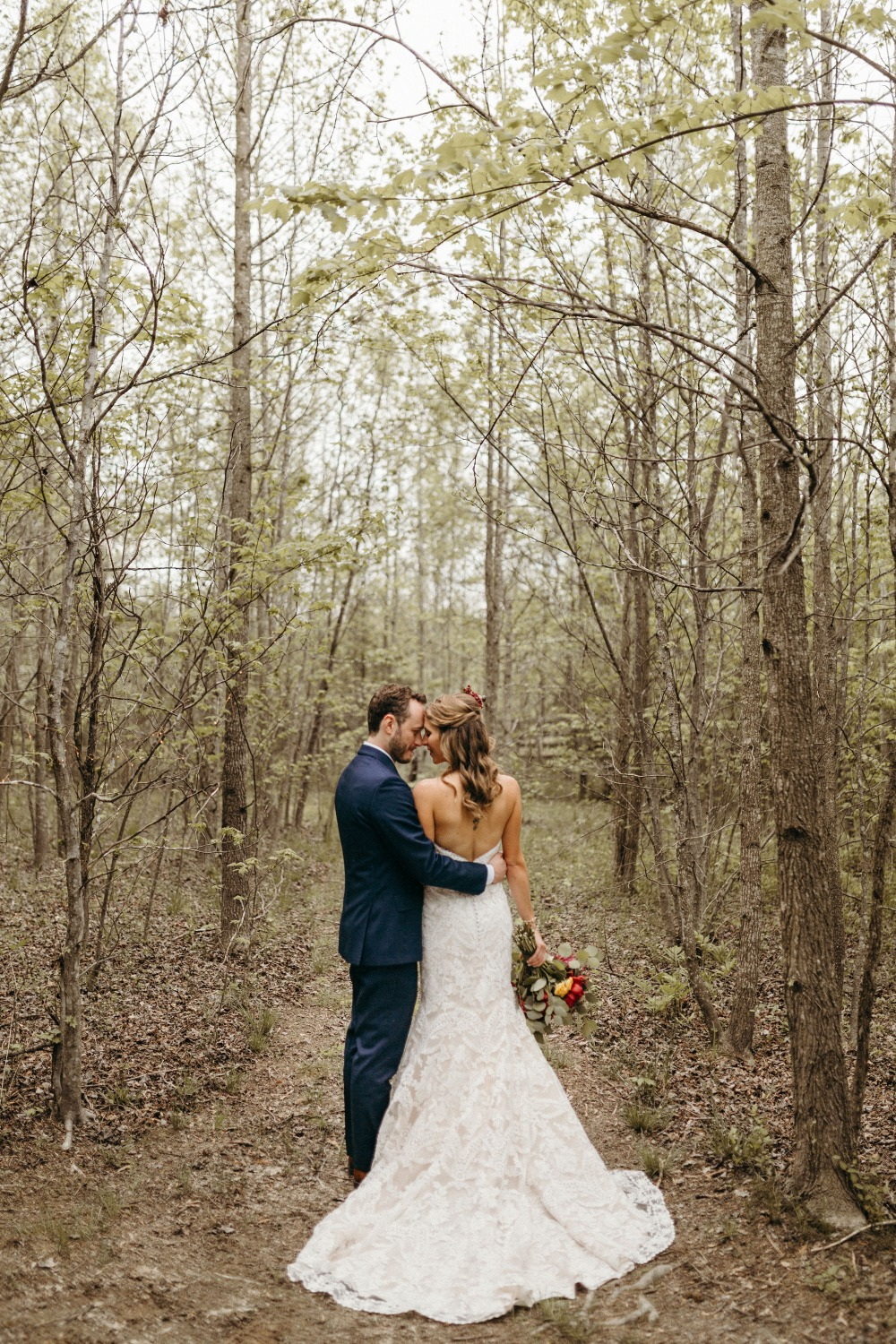 Wedding photo in the woods