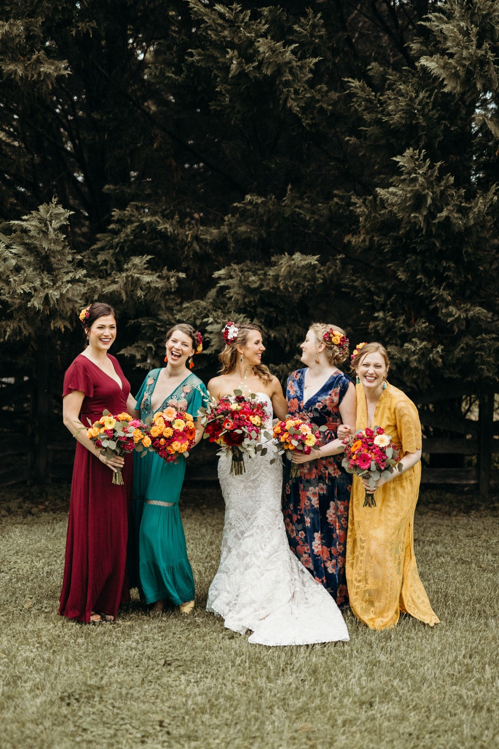 Colorful boho bridesmaids