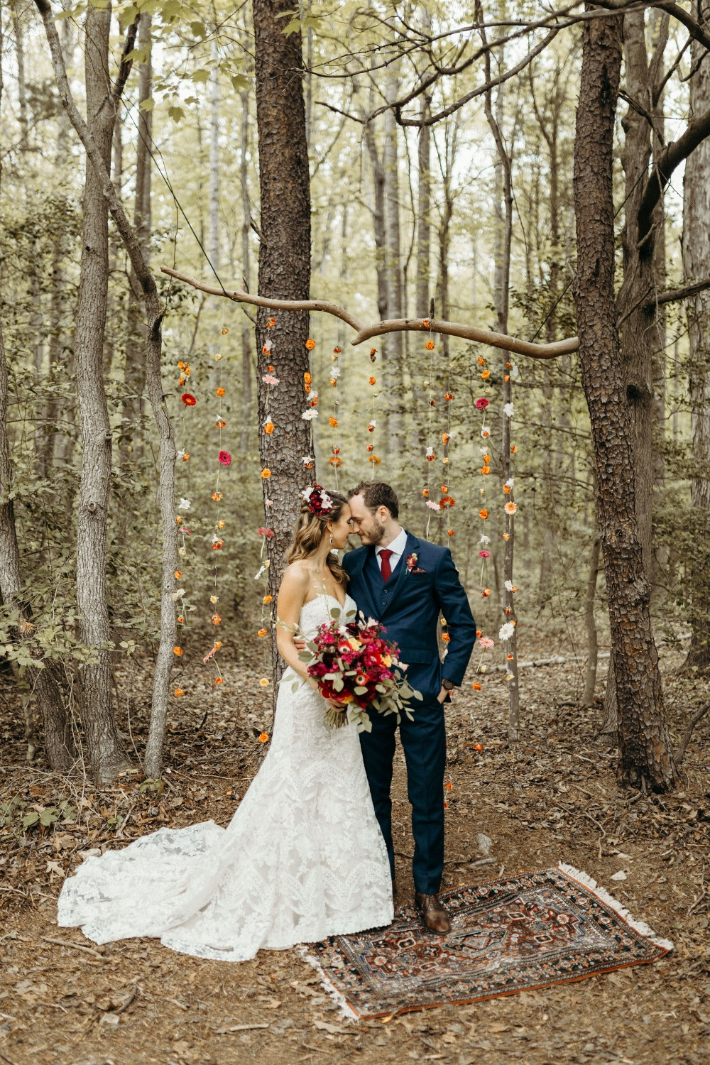 Romantic boho wedding in the woods
